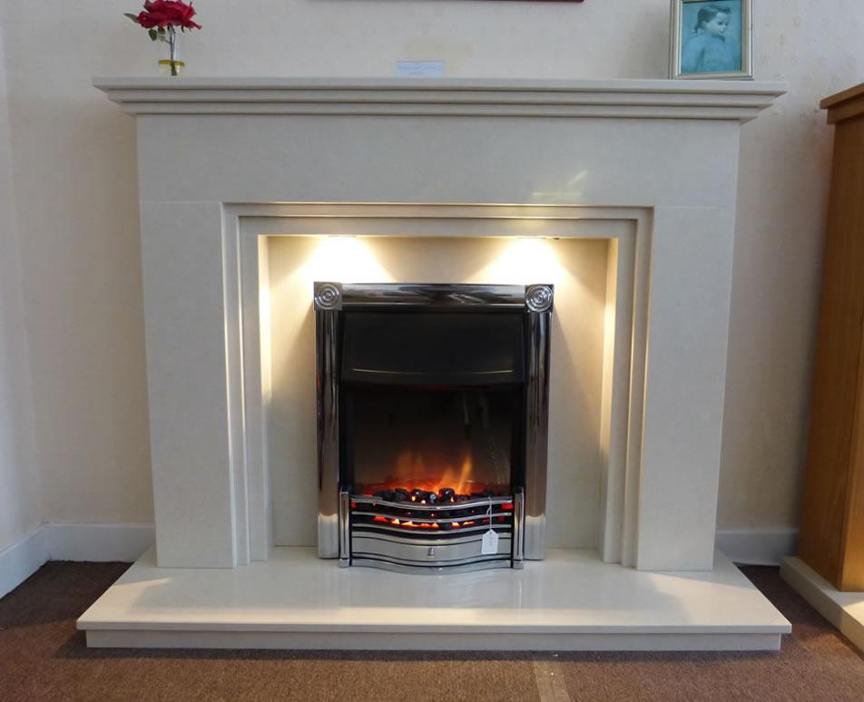 Horton chrome fire in a sienna mantle