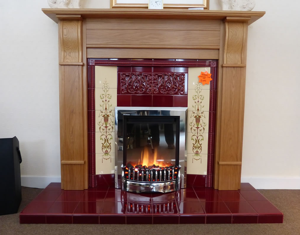 Dimplex Exbury in an oak mantle