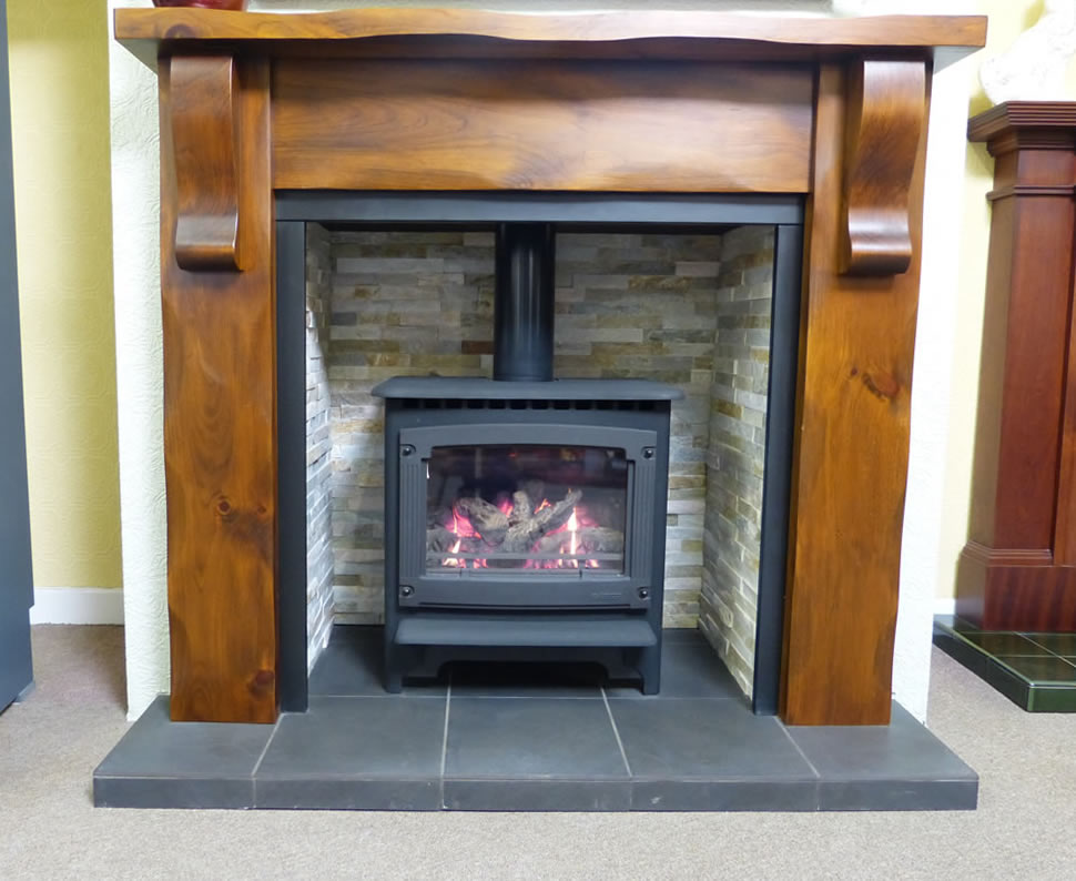 Gazco Marlborough with a cottage pine mantle